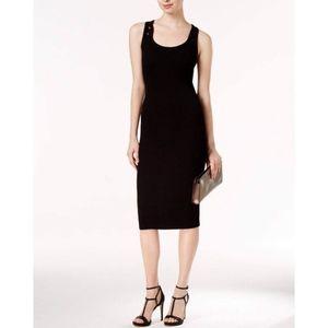 Michael Kors Ribbed Lace Back Bodycon Midi Dress